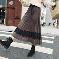 レースデザインプリーツスカート*゜ロングスカート 秋 冬 ガーリー オルチャン  韓国 ファッション S2009