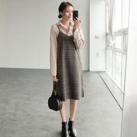 グレンチェック柄キャミソールワンピース ツイード オルチャン 重ね着 大人かわいい 韓国 ファッション S3027