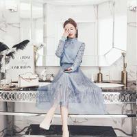 ゆるふわネックリボンお嬢様風シフォンプリーツワンピース 韓国 ファッション W4004