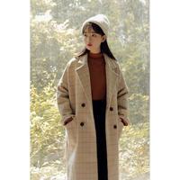 グレンチェック チェスターコート ロングコート 可愛い レディース オルチャン 韓国 ファッション K1002