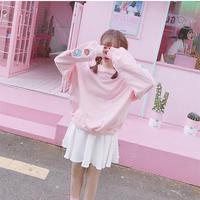 袖プリントカラーオーバーサイズ スウェット プルオーバー カラフル 韓国 ファッション T30006