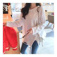長袖Tシャツ レディース ロング丈 長袖 アシンメトリー ゆったり 韓国ファッション オルチャン T39005