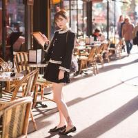 バイカラーツイードジャケット×スカートセットアップ ツーピース パーティーにも♪ オルチャン 韓国 ファッション U30017