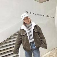 コーデュロイ裏ボアジャケット 裏地 アウター オルチャン カーキ ピンク 韓国 ファッション K3086