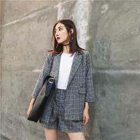 チェック柄ジャケットxショートパンツセットアップ オルチャン アウター 韓国 ファッション U3018