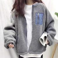 ボアブルゾン*゜もこもこ スタジャン ポケット付き バイカラー トレンド アウター 秋 冬 オルチャン 韓国 ファッション C2013