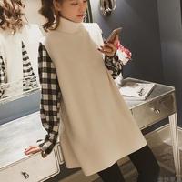セットアップ レディース 秋冬 ギンガムチェックシャツ×ニットベスト 大きいサイズ 韓国 ファッション U30010