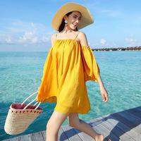 ビーチに映える☆リゾートオフショルワンピース ストラップ ドレープ 五分袖 ミニワンピース オルチャン 韓国 ファッション W2009