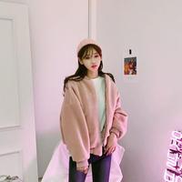 パステルカラーボアブルゾン ファー アウター ジャケット 大人かわいい オルチャン 韓国 ファッション K3073