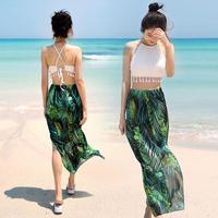 2018s/s新作プレステージ水着!ボタニカルグリーンタンキニパレオ3点セット オルチャン 韓国 ファッション