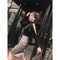 ブラックノースリーブブラウス&メタリックハイウエストタイトレザースカートセット 韓国 ファッション S4015
