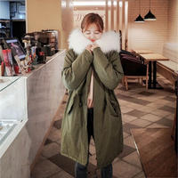 モッズコート レディース 大きいサイズ 女性用 ファー フード付 ミリタリーコート 韓国ファッション秋冬 K30086