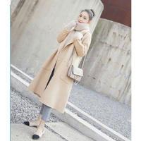 オフホワイトシンプルウールロングコート チェスターコート アウター オルチャン 韓国 ファッション NX3003