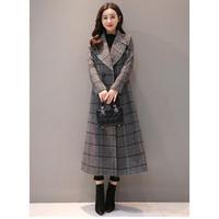 チェックコート ロングチェスターコート 超ロングコート 大きいサイズ 秋冬 ロングコート 千鳥格子  韓国 ファッション K30009