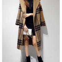 チェックコート レディース 超ロングコート 超ロング丈コート フード付コート 秋冬 韓国 ファッション K30016