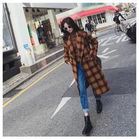 チェック柄ロングチェスターコート アウター リブ オルチャン ウール 韓国 ファッション K3052