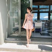 花柄バックレースアップワンピース水着 フレアスカート フラワー 大人かわいい オルチャン 韓国 ファッション M30013