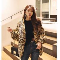 ヒョウ柄ファーコート ジャケット レオパード アウター オルチャン 豹柄 韓国 ファッション K3099