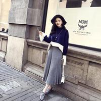 バイカラーワイドスリーブニット×プリーツロングスカートセットアップ オルチャン 韓国 ファッション U30016