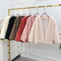 もこもこボアブルゾン*゜ショート丈 アウター ふわふわ 抜き襟 秋 冬 オルチャン 韓国 ファッション C2007