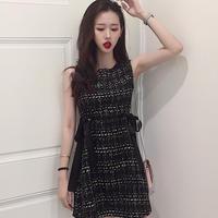 ツイードノースリーブミニワンピース*゜ブラック リボン デート服 オルチャン オルチャン 韓国 ファッション W2015