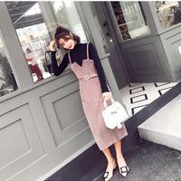 コーデュロイキャミソールベルトワンピースxブラックロングTシャツセット 長袖 オルチャン 韓国 ファッション U30003