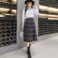 チェック柄膝丈プリーツスカート*゜清楚 上品 秋 冬 大きいサイズ オルチャン 韓国 ファッション S2013