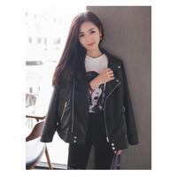 ブラックライダースジャケット アウター レザー ロックコーデ シンプル 羽織り モノトーン オルチャン 韓国 ファッション K3012
