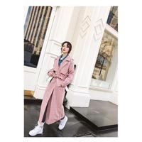 グレンチェックロングコート ウエストリボン ガウン風 ピンク&ベージュ オルチャン 韓国 ファッション K3008