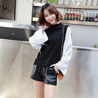 セットアップ レディース 秋冬 シャツ・ニットベスト キャンディスリーブ ストライプ 韓国 ファッション U30021