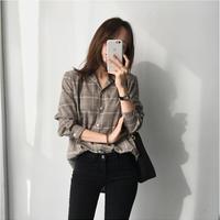 グレンチェックオーバーサイズシャツ チェック柄 ベージュ オルチャン 長袖 韓国 ファッション T3017