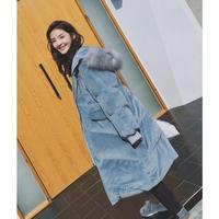ベロアダウンロングコート ファー フード ブルー ジャケット シンプル オルチャン 韓国 ファッション K3079