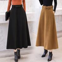 ベルト付きスカート スカート レディース ハイウエスト ロングスカート フレア 韓国ファッション 新作 S30057