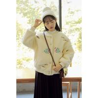 刺繍ボアブルゾン アウター ファー 花柄 フラワー 大人かわいい オルチャン 韓国 ファッション K3072