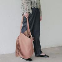 double fringe nature leather bag