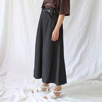 eyelet belted denim skirt