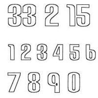 ナンバー2(Sサイズ)2桁/ホワイト