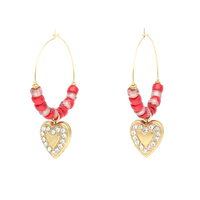 HEART hoop pierce(red×gold)