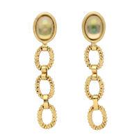 CUTSTEEL chain cabochon earring (gold)