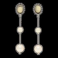 CAMELEON pearl long earring (silver)
