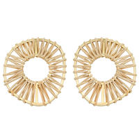 VITRAIL rattan round pierce/earring(gold)