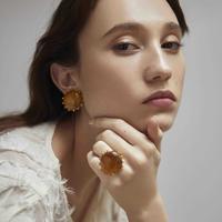 STONE earring(camel)