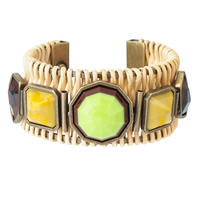 RETRO rattan bangle(green×vintage gold)
