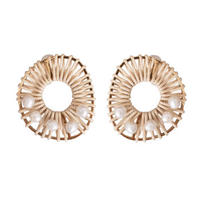 RATTAN  pearl  round earring