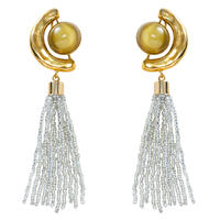 FRAGMENT glass tassel earring(gold)