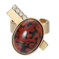EARTHoval stone ring (brick x gold)