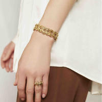 CUTSTEEL flower band bracelet  (gold)