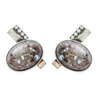 EARTH oval earring (gray x silver)