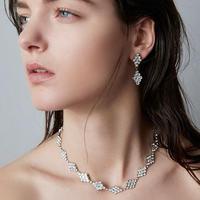 DIAMANTE crystal necklace (silver)