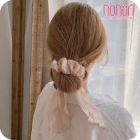 髪を結ぶのが簡単とても便利絹織物キラキラ色シュシュ7色
